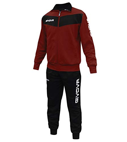 Giosal Completo Tuta Sportiva GIVOVA Uomo Donna Unisex Relax Sport Allenamento Running Visa-Granata - Nero-XXL