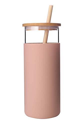 Botella de agua de paja de cristal con cubierta protectora de silicona y tapa de bambú, sin BPA (ámbar, 1 unidad)