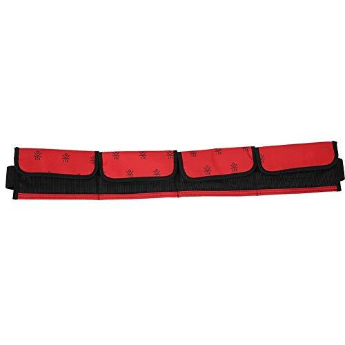 Andraw Cinturón de Buceo, Cinturón de Buceo con Pesas de Nailon con Hebilla Ajustable de Bolsillo, Cinturón de esnórquel Compacto(Red, 4 Pockets)