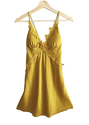 Laura Lily - Pijamas Mujer de Seda Satén con Encaje Floral de Color Liso Sólido. (Mostaza Camisón, M)