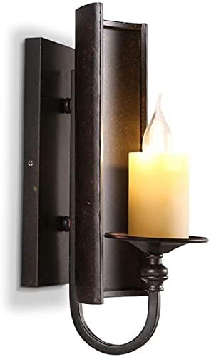 Chanety Vintage Pared Luz Nórdica Loft American Industrial Estilo Creativo Corredor Escalera One Head Lamp Balcony Hierro, Lámpara de pared negra