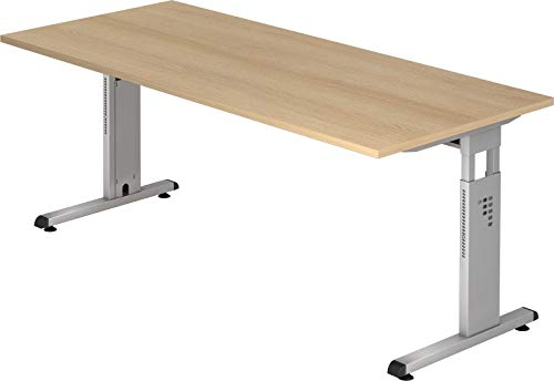 bümö® Stabiler Schreibtisch höhenverstellbar 180 x 80 cm   Bürotisch in Eiche   Büroschreibtisch mit Höheneinstellung   Tisch für Büro in 9 Größen & 7 Dekoren