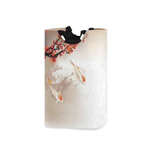 DYCBNESS Cesto para la Colada,Sakura Rama y Hojas de Animales sagrados en un pequeño Cuerpo de Agua,Cesta de lavandería Plegable Grande,Cesto de Ropa Plegable,Papelera de Lavado Plegable