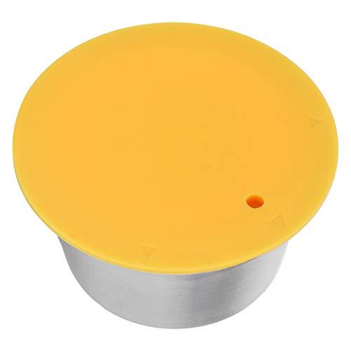 Filtro de café con tapa de polvo Cápsula de acero inoxidable para Dolce Gusto Cápsula de silicona Taza Cápsula de café Práctica para hacer café(yellow)