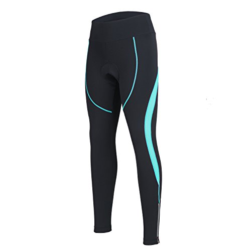 Women's Cycling Pants 3D Padded Compression Tight, Long Bike Bicycle Pants with Wide Waistband (Blue,M)