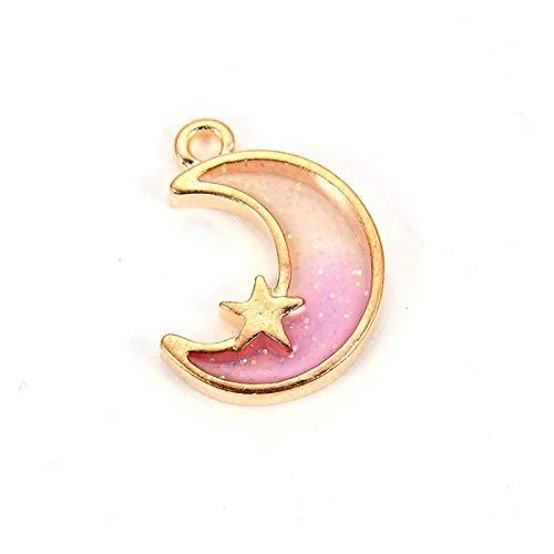 Gzjdtkj Llavero 10 unids Dream Moon Charms 3 Colores Esmalte Colgantes encantos para Hacer Gotas de Pulsera en Forma DIY Pendiente Collar Llavero Lindo (Metal Color : Pink)