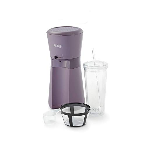 Mr Coffee Iced Coffee Maker with Reusable Tumbler and Coffee Filter Lavender