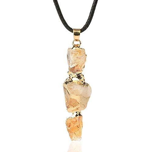YOUHU Collares Pendientes De Piedra,Vintage Unisex Cristal Irregular Citrino Natural Piedra Preciosa Colgante Dorado Cadena De Cuero De Moda Joyería De Moda Niñas