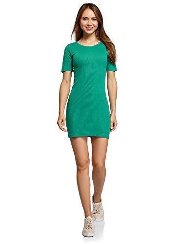 oodji Ultra Mujer Vestido Ajustado Texturizado, Verde, ES 44 / XL