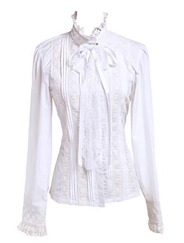 Antaina Weiß Baumwolle Rüsche Spitze Stehkragen Lolita Luxuriös Hemd Bluse, L,MEHRWEG