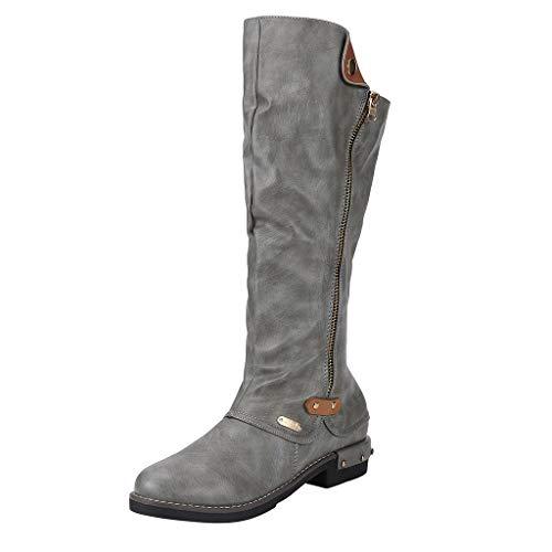 Damen Winter Stiefel 2019 Frauen Arbeiten westliche Art-Cowboy-Reitstiefel-beiläufige Knie-Mittelrohr-Stiefel um Warm Stylisch Ausgehen Wild Jeden Tag Schuhe(Grau,41