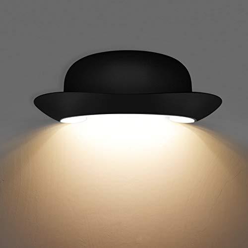 KAWELL 12W Creativo Moderno Applique da Parete LED Lampada da Parete Impermeabile IP65 Alluminio Lampada da Muro Interno Esterno per Camera da Letto Bagno Portico Corridoio Scale Soggiorno, Nero 3000K