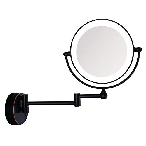 BANNAB Espejo de baño de 8 '' montado en la Pared, Espejo de Maquillaje Iluminado por LED Espejo de Afeitar de tocador de Doble Cara con Forma Redonda y Aumento 7X