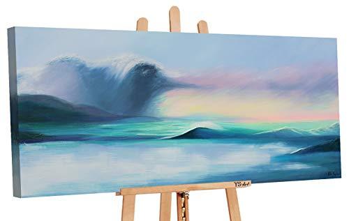YS-Art | Dipinti a Mano Colori acrilici La grandezza del Mare | Quadro Dipinto a Mano | 115x50cm | Pittura | Dipinti Modern | Quadri Dipinti a Mano | Azzurro