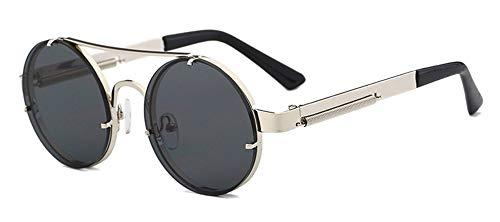 Qiuling - Gafas de sol redondas retro de metal con marco Steampunk, gafas de sol para hombre, punk, redondas, UV400, protección para hombres y mujeres