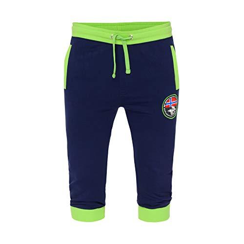 Nebulus Pantalon de survêtement Capri T1331. L Bleu marine/jaune lime