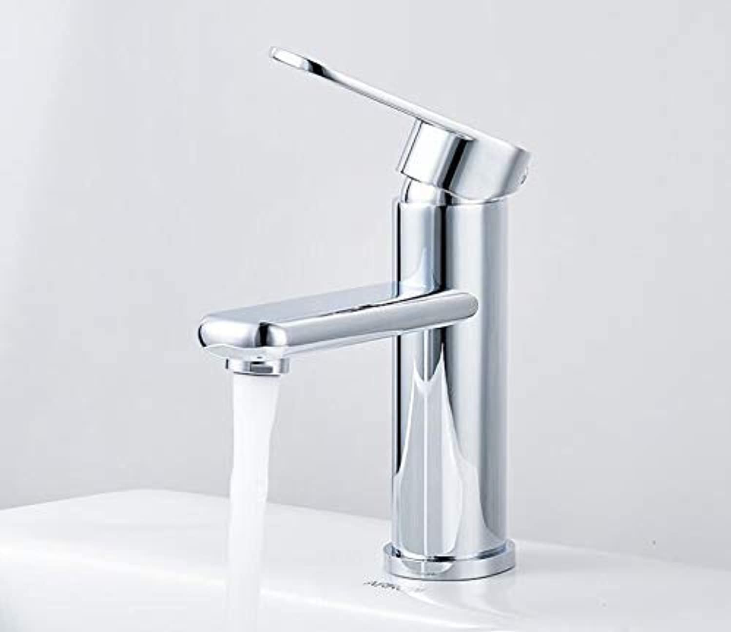 Oudan Hot and Cold Wash Basin Sink Basin Bathroom Faucet Ceramic Valve Core, Long Round Basin Faucet (color   Short Round Basin Faucet, Size   -)