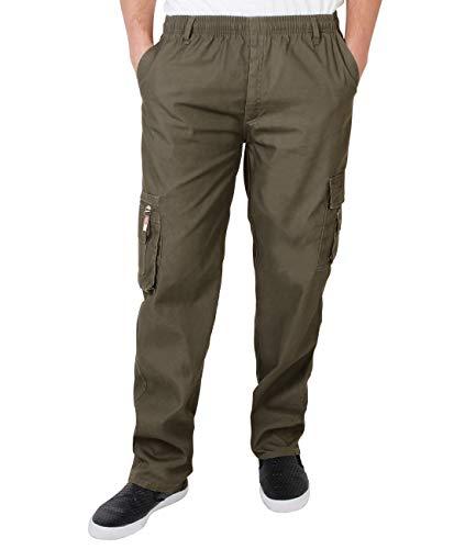 KRISP Männer Praktische Cargohose Gummizug Seitliche Taschen (Khaki, Gr.M) (7918-KHA-M)