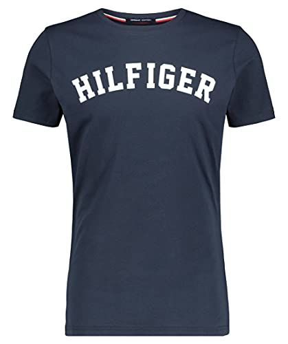 Tommy Hilfiger Logo Camiseta de Cuello Redondo,Perfecta para El Tiempo Libre, Azul (Navy Blazer), M para Hombre
