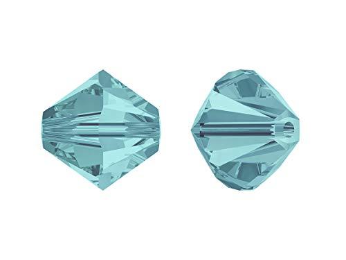 Xilion Swarovski Beads, Bicone 5328, 4mm, 18 Piezas, Cuentas de Vidrio facetadas en la Forma de Cono Doble (Linterna), Light Turquoise (Transparent Light Blue Slightly Greenish, Iridescent)