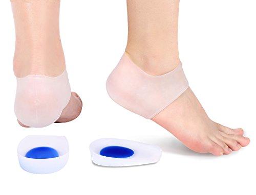 Almohadillas de gel para el talón, taloneras de silicona para la fascitis plantar, taloneras de gel y soporte absorbente de cojín, inserciones de gel en la copa del talón y calcetines de compresión pa
