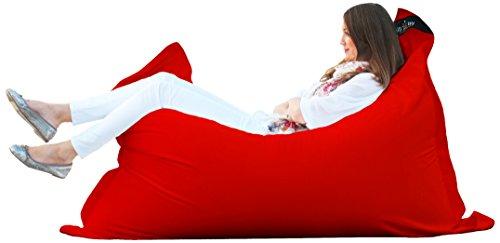 chillisy® Junior pouf intérieur extérieur coussin emplit en matière vièrge 130 x 100 cm Rouge