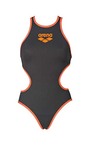 Arena W Biglogo One Piece, Costume da Bagno Intero Donna, Deep Grey/Fluo Orange, 44 IT