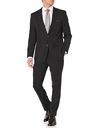 Perry Ellis Men's Two Piece Finished Bottom Slim Fit Suit, Charcoal Dobby, 42 Regular