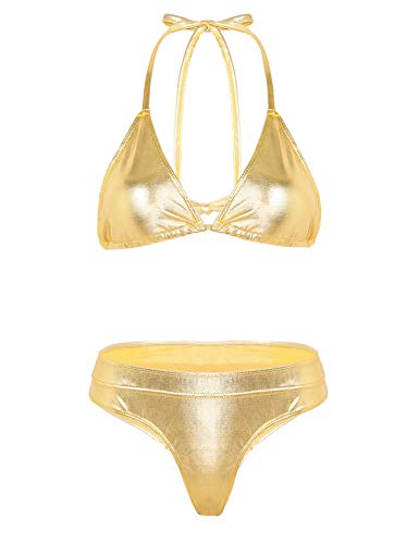 MSemis Conjunto de Lencería Bikini Push Up para Mujer Bikinis Brillante Cuello Hálter Vendaje Sexy Babydoll Traje de Baño 2Pcs Traje Pole Dance Nightwear