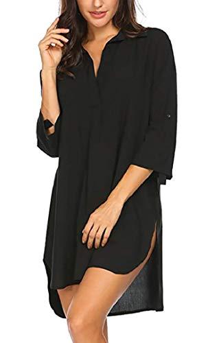 UMIPUBO Damen Bikini Cover Up Strandkleid mit V-Ausschnitt 3/4 Arm Sommerkleid Einfarbig Langes Bademode Elegante Lose Top T-Shirt Bluse für Sommerferien, Strand