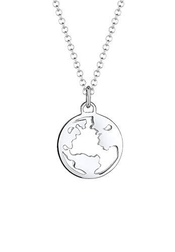 Elli Halskette Damen Weltkugel Globus Wanderlust Reisen in 925 Sterling Silber