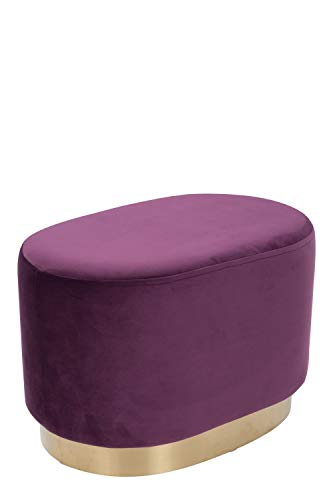 Samthocker Pouf Gold Messing Sitzhocker Samt Retro Hocker Oval Violett Lila