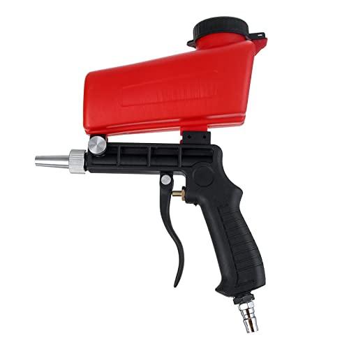 Sandblaster Sand Blaster Gun Set, herramienta de pulverización de chorro de arena para eliminar pintura, manchas, óxido y superficies limpias (rojo)