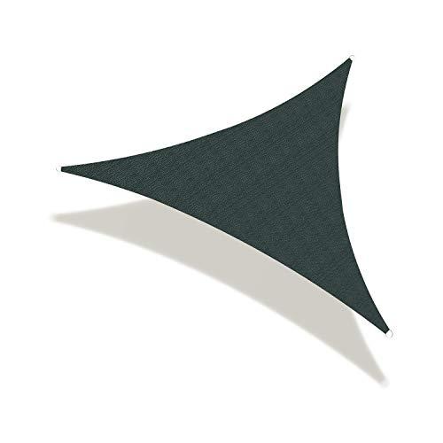 Toldo triángulo de vela – resistente a los rayos UV para pérgola, piscina, patio, jardín, actividades al aire libre con tela duradera, personalización disponible (18 x 18 x 18 pies, verde oscuro)
