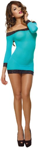 Dreamgirl Women's Stretch Mesh Dress, Turquoise/Black, One Size