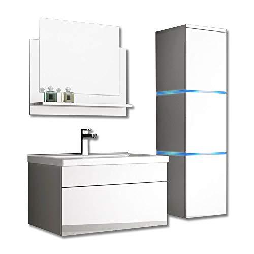 Home Deluxe - Badmöbel-Set - Wangerooge weiß - L - inkl. Waschbecken und komplettem Zubehör - Verschiedene Größen