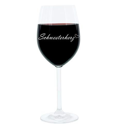 Leonardo Weinglas 400 ml, Schwesterherz, Geschenk Stimmungsglas mit Gravur, Schwester Herz, Moodglas, Glas, 22 cm