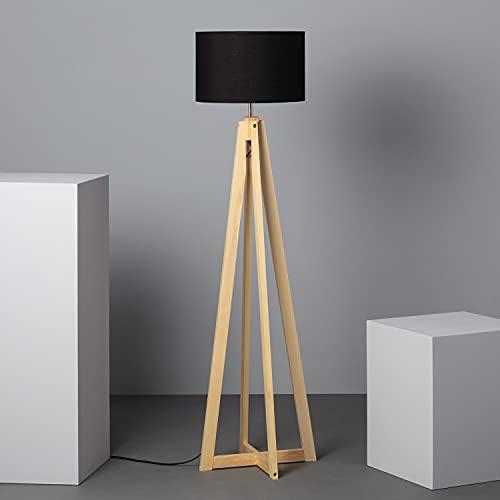 LEDKIA LIGHTING Lampada da Terra Korsade Ø430x1490 mm Nero E27 Legno per Sale, Soggiorno, Cucina, Camera