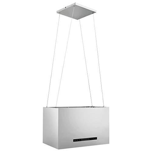 pedkit Hängende Inselhaube Touch-Sensor LCD 55 cm Edelstahl Silbern Geräuscharme und Leistungsstarke