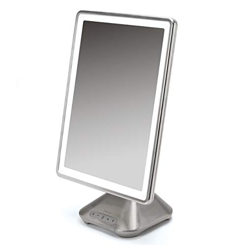 "iHome 10"" x 13"" iCVBT10 Reflect PRO Portable, Adjustable Vanity Mirror with Bluetooth Audio, Hands-Free Speakerphone, LED Lighting, Siri & Google Voice Assistant USB Charging, LED Lighting"