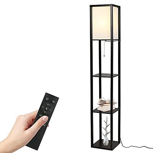 Stehlampe,Tomshine Holzablage Stehlampe dreifarbige Temperatur dimmbar Timing Fernbedienung (mit 9W Glühbirne) schwarz