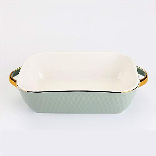 MAATCHH Baking Dishes 2 Pieces Rectangular Ceramic Baking Dish Baking Tableware Oven Dish Microwave Oven Suitable for Cooking (Color : B, Size : 23.5x5.5cm)