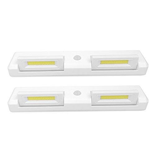 Seville Classics Adjustable Dual-Head Motion-Activated Stick-On LED Bar 7000K 200 Lumen 3W Battery-Operated Drawer Closet Wall Mount Under- Under-Cabinet Light (Set of 2), 8.7' L x 1.8' W, White
