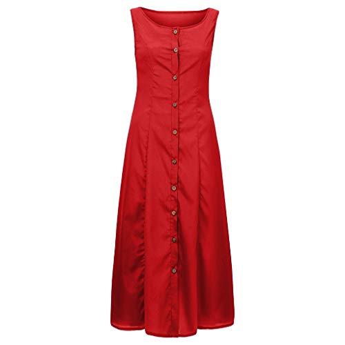 LOPILY Damen Basic Blusenkleid Sexy Midi Kleid mit Knopfleiste Einfarbiges Tunikakleid Casual Freizeit Kleid Träger BH Kleid Ärmelloses Kleid A-Linie Urlaub Kleid Innen Kleid Herbst (Rot, Gr.38)