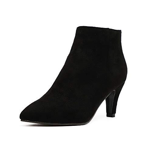 Stiefeletten Damen Kleiner Absatz Frauen Ankle Boots Wildleder Reissverschluss Stiefel Mit Absatz 7cm Schwarz 36 EU