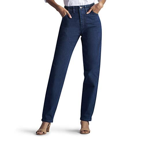 Lee Women's Missy Relaxed-Fit Side Elastic Tapered-Leg Jean, Dark Indigo, 14 Long