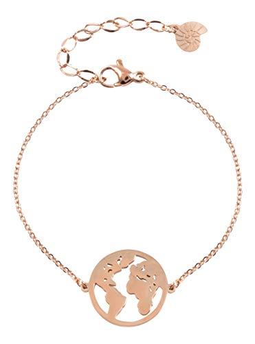 Happiness Boutique Damen Weltkarte Armband in Rosegold | Filigrane Armkette mit Globus Anhänger Edelstahlschmuck