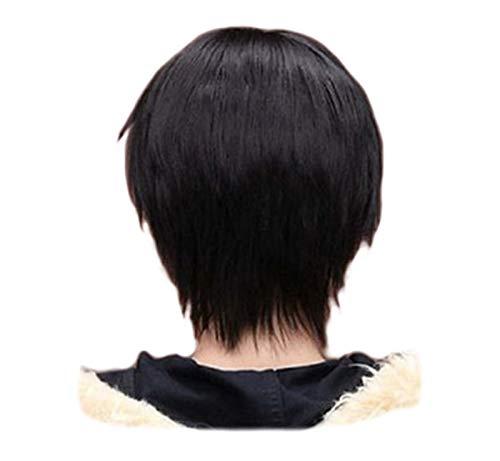 YBINGA Pelucas cortas para cosplay de color negro, 32 cm, resistente al calor, peluca delantera de encaje para hombres y niños (longitud estirada: 12 pulgadas)
