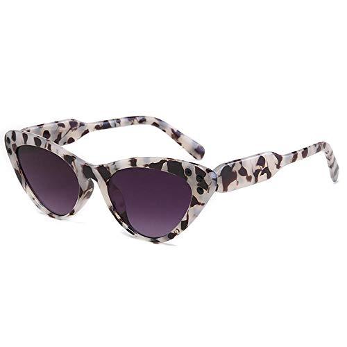 DLSM Pequeño triángulo Marco Cristal Gato Ojo Gafas de Sol Mujeres Gafas de Sol Vintage Negro Leopardo Sombras Diamantes de imitación adecuados para Gafas de Sol de Pesca de Golf-Gris Flor