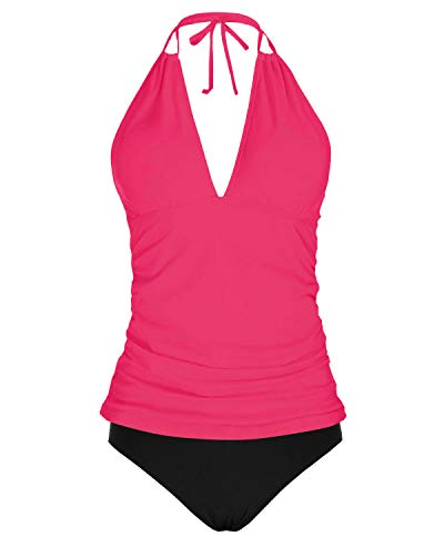 Yonique WomensHalter Tankini SwimsuitsPink V NeckTankini Tops with Bikini Bottom Two PieceTummy ControlBathing Suits M
